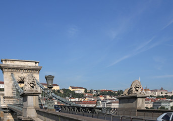 Chain bridge with lion statues Budapest