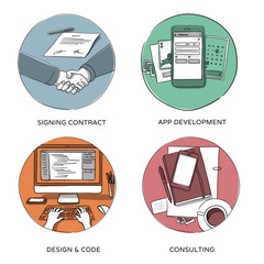 web design & mobile app development illustrations