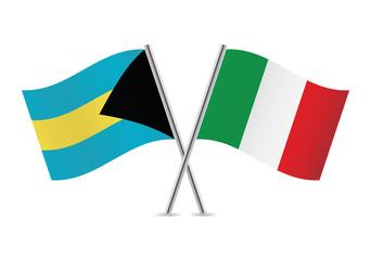 Bahamas and Italian flags. Vector illustration.