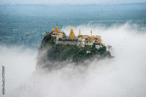 Foto op Aluminium Oude gebouw Mount Po-pa with fog, the old volcano in Myanmar
