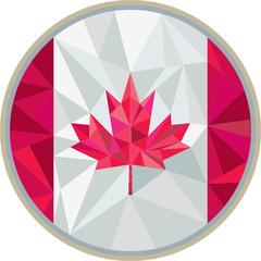 Canada Flag Icon Circle Low Polygon
