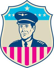 American Airline Pilot Aviator USA Flag Shield Retro