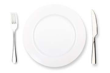 fork knife and plate on a white background