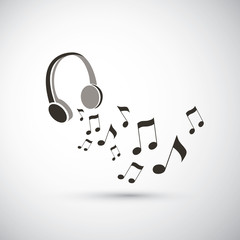 Musical Notes Flying from Headphones