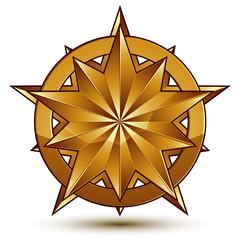 3d vector classic royal symbol, sophisticated golden star emblem
