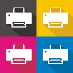 Iconos impresora colores sombra