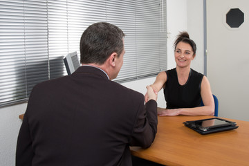 shot of a lovely female employer interviewing
