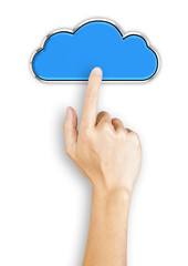 Hand clicking a blue cloud shaped button, top view