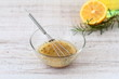 Salad dressing with olive oil, honey, and mustard - 77932329