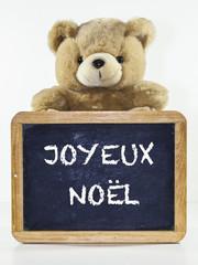 ardoise, joyeux noël avec ours en peluche