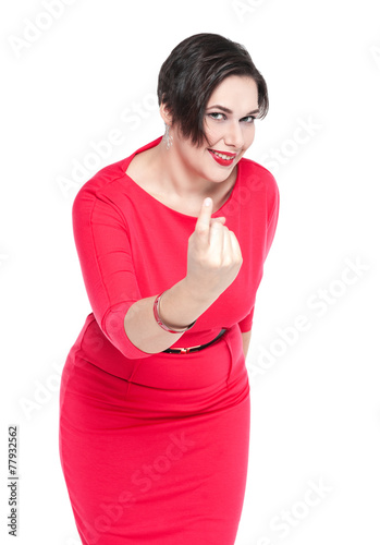 Beautiful plus size woman with beckoning gesture isolated Poster
