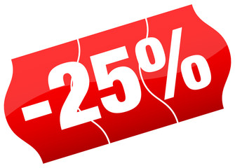Price Tag Sale 25% Minus Red Divided