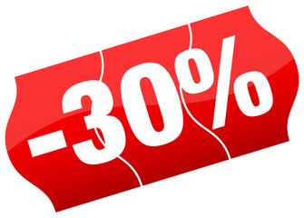 Price Tag Sale 30% Minus Red Divided