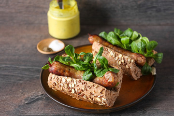 Hot dog with homemade sausage