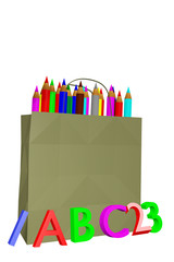 Shopping bag with school supplies