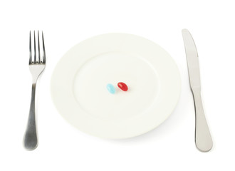 candy in a plate isolated