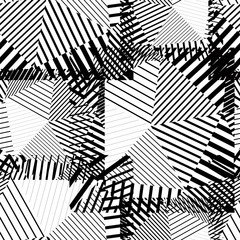 Black and white creative continuous lines pattern, contrast moti