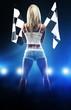 Leinwanddruck Bild - Sexy blonde woman starts racing