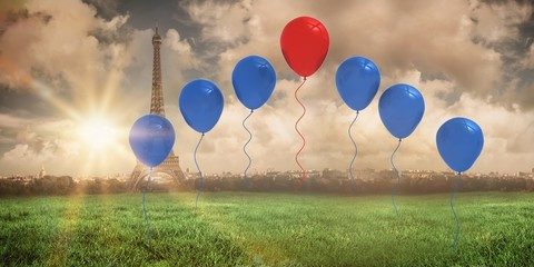 Composite image of red and blue balloons