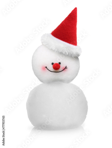 Papiers peints Glisse hiver Snowman in red hat isolated
