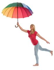 Blonde Frau mit Regenschirm