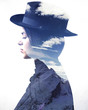 Double exposure of girl wearing hat profile and mountains
