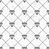 Hand Drawn Diamonds Seamless Pattern - 77934330
