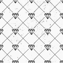 Hand Drawn Diamonds Seamless Pattern