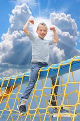 Little sailor enjoy summer holidays.