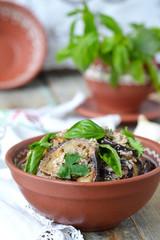 Satsivi - eggplants in peanut sauce. Traditional georgian cuisin