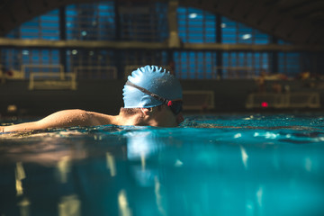 Male swimmer  at the swimming pool.