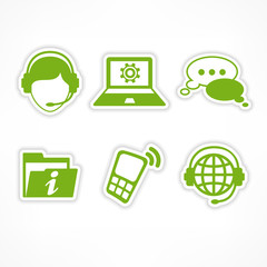 Customer service icons in green on white, vector illustration