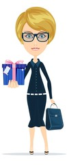 Business woman holding a gift for you, vector illustration