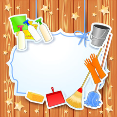 Cleaning, vector background with copy space