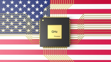 Computer CPU with flag of USA background