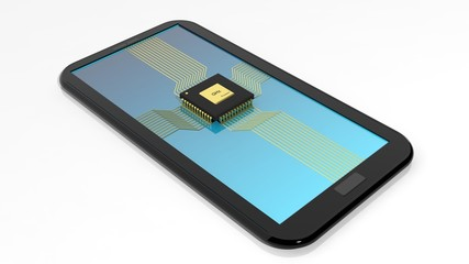 Smartphone/Tablet with CPU chip on screen