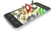 smartphone with wireless navigator map. GPS satellite navigatio