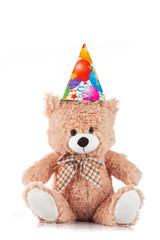 Party Teddy bear on white