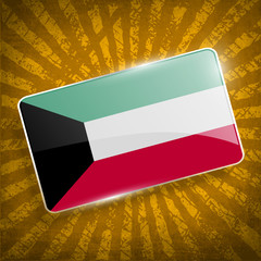 Flag of Kuwait with old texture. Vector