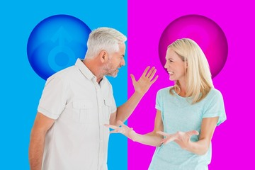 Composite image of unhappy couple having an argument