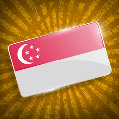 Flag Republic of Singapore with old texture. Vector