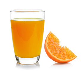 Full glass of orange juice and orange isolated on white backgrou