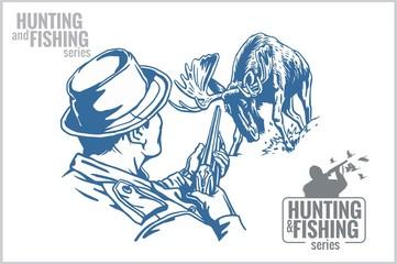 Hunter and elk - vintage illustration