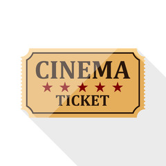 Cinema ticket icon with long shadow on white background