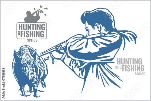 Hunter and boar - vintage illustration - 77939333