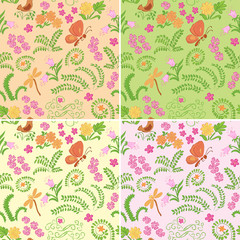 floral seamless backgrounds with nature elements - vector set