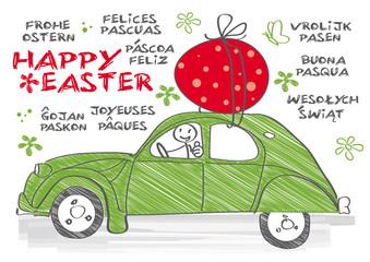 Happy Easter multilingual, Ente 2cv