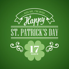 Typography St. Patrick's Day. Vector illustration