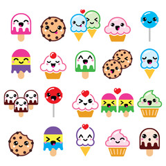 Cute Kawaii food characters - cupcake, ice-cream, cookie