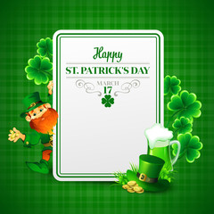 Saint Patrick's day vector illustration with Leprechaun